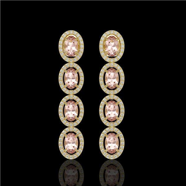 6.09 ctw Morganite & Diamond Micro Pave Halo Earrings 10k Yellow Gold - REF-143R6K