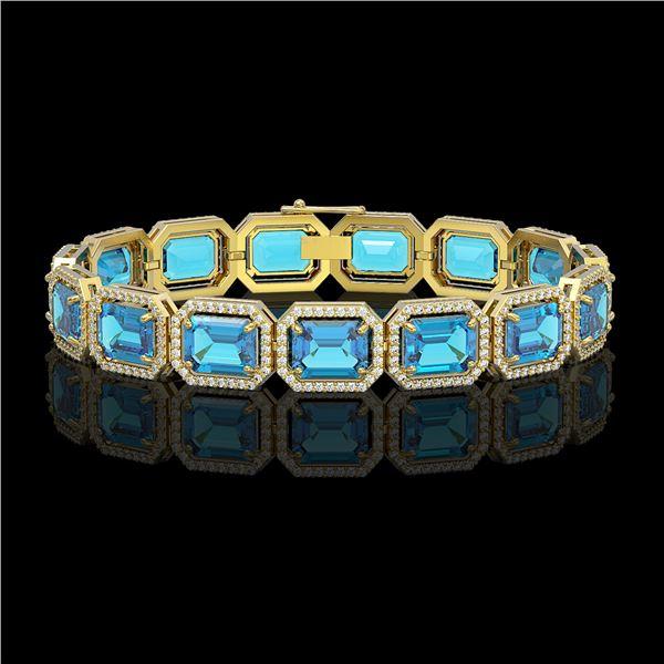 35.61 ctw Swiss Topaz & Diamond Micro Pave Halo Bracelet 10k Yellow Gold - REF-337K3Y