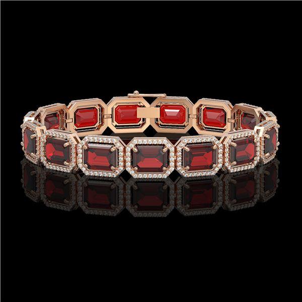 33.41 ctw Garnet & Diamond Micro Pave Halo Bracelet 10k Rose Gold - REF-318X2A