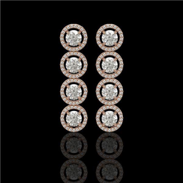 5.36 ctw Diamond Micro Pave Earrings 18K Rose Gold - REF-631G6W