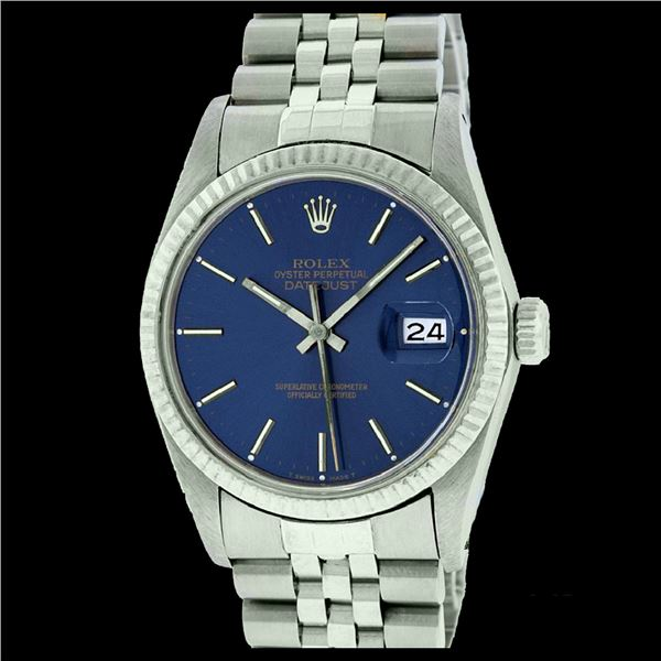 Rolex Men's Stainless Steel, QuickSet, Index Bar Dial, with Fluted Bezel