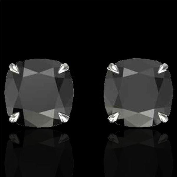 6 ctw Cushion Black Diamond Designer Earrings 18k White Gold - REF-163Y6X