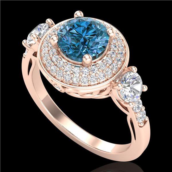 2.05 ctw Intense Blue Diamond Art Deco 3 Stone Ring 18k Rose Gold - REF-300W2H