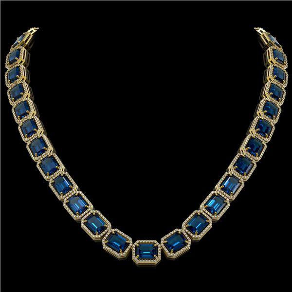 79.66 ctw London Topaz & Diamond Micro Pave Halo Necklace 10k Yellow Gold - REF-740W2H
