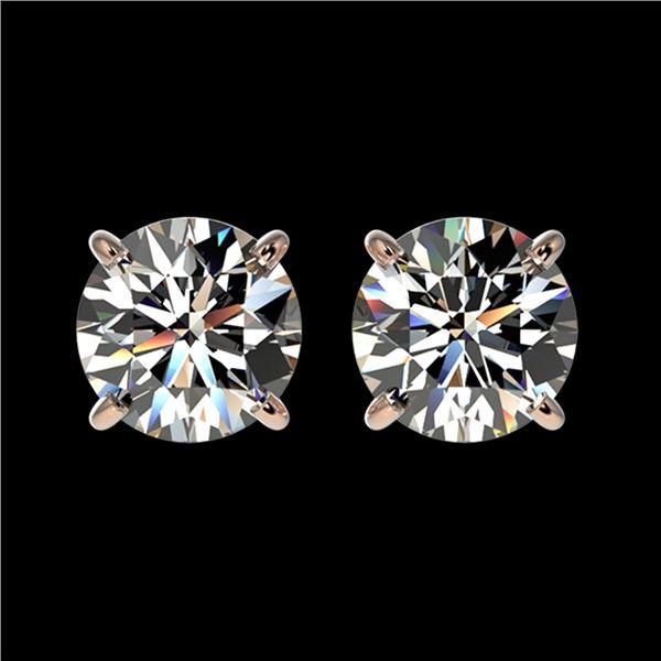 1.59 ctw Certified Quality Diamond Stud Earrings 10k Rose Gold - REF-127W5H