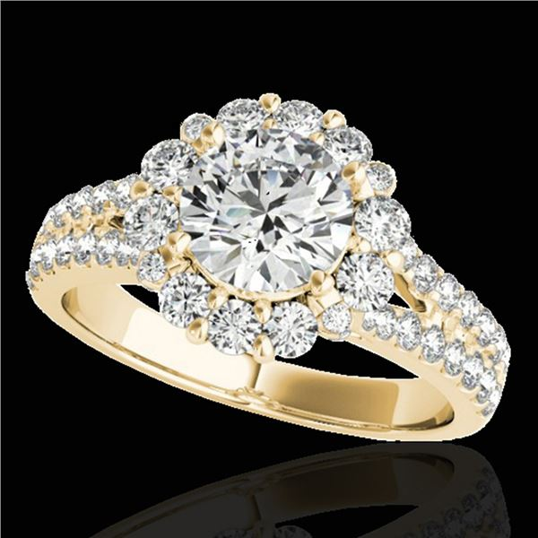2.01 ctw Certified Diamond Solitaire Halo Ring 10k Yellow Gold - REF-225F2M