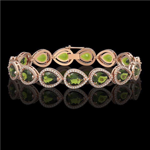 19.7 ctw Tourmaline & Diamond Micro Pave Halo Bracelet 10k Rose Gold - REF-361K3Y