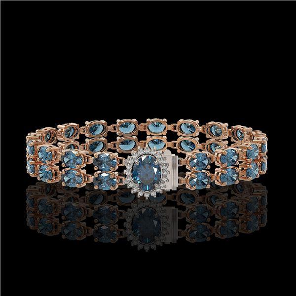 29.22 ctw London Topaz & Diamond Bracelet 14K Rose Gold - REF-218M2G