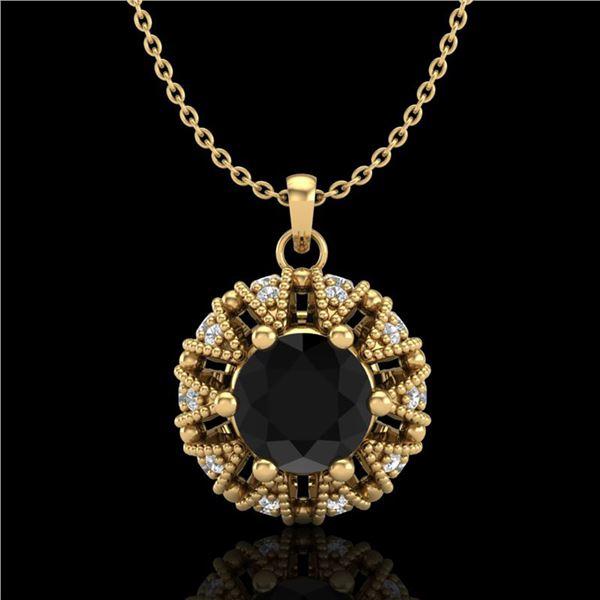 1.2 ctw Fancy Black Diamond Art Deco Micro Pave Necklace 18k Yellow Gold - REF-82G8W