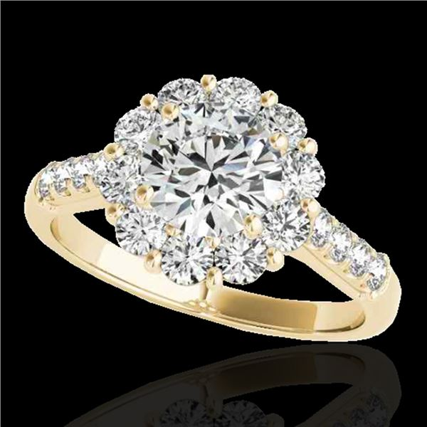 2 ctw Certified Diamond Solitaire Halo Ring 10k Yellow Gold - REF-225A2N
