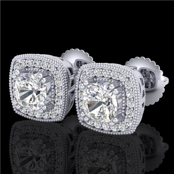1.25 ctw Cushion VS/SI Diamond Art Deco Stud Earrings 18k White Gold - REF-178H2R
