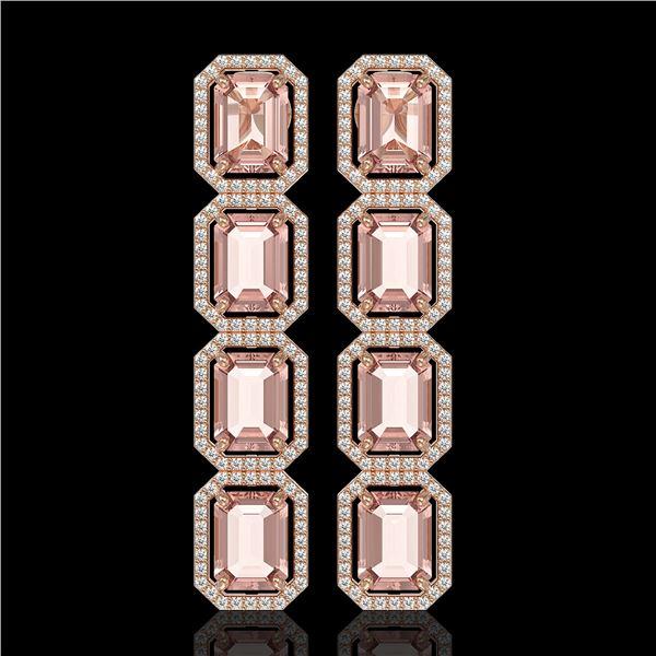 19.81 ctw Morganite & Diamond Micro Pave Halo Earrings 10k Rose Gold - REF-424R8K