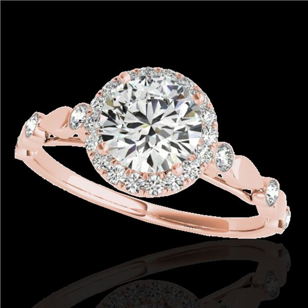 1.25 ctw Certified Diamond Solitaire Halo Ring 10k Rose Gold - REF-177A3N