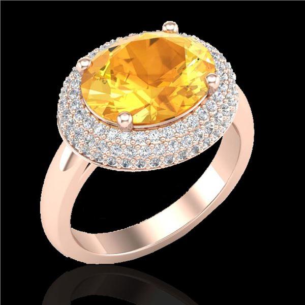 4 ctw Citrine & Micro Pave VS/SI Diamond Certified Ring 14k Rose Gold - REF-89H8R