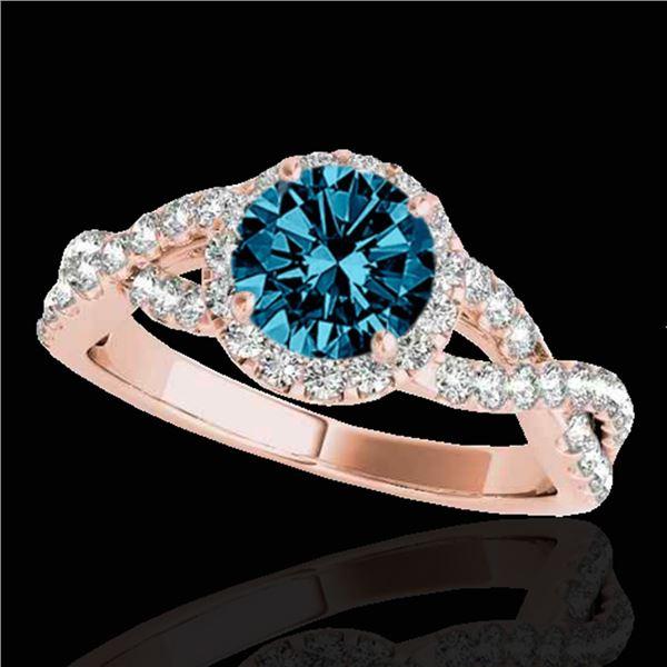 1.54 ctw SI Certified Fancy Blue Diamond Halo Ring 10k Rose Gold - REF-127R8K
