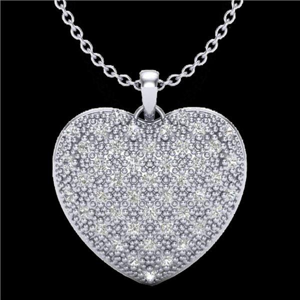 1.0 ctw Micro Pave VS/SI Diamond Heart Necklace 14k White Gold - REF-87N3F