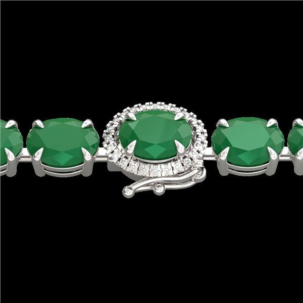 37 ctw Emerald & VS/SI Diamond Micro Pave Bracelet 14k White Gold - REF-327K3Y