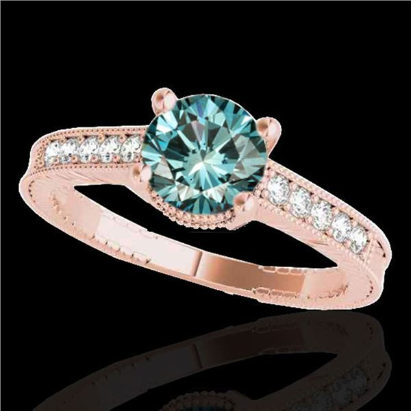 1.75 ctw SI Certified Blue Diamond Solitaire Antique Ring 10k Rose Gold - REF-227A8N