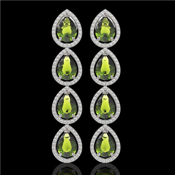 10.48 ctw Tourmaline & Diamond Micro Pave Halo Earrings 10k White Gold - REF-195K6Y