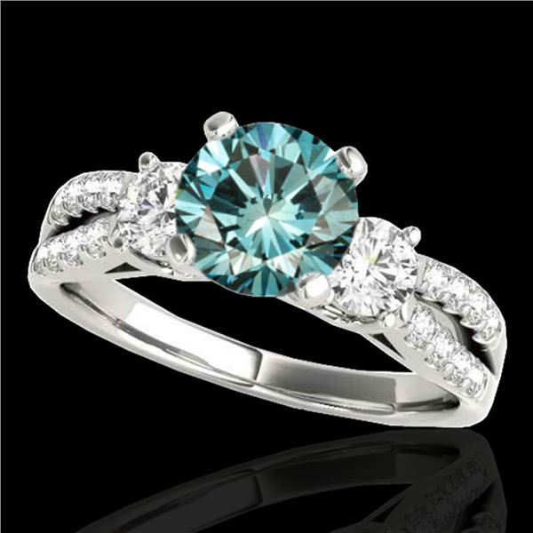 1.5 ctw SI Certified Fancy Blue Diamond 3 Stone Ring 10k White Gold - REF-129F5M