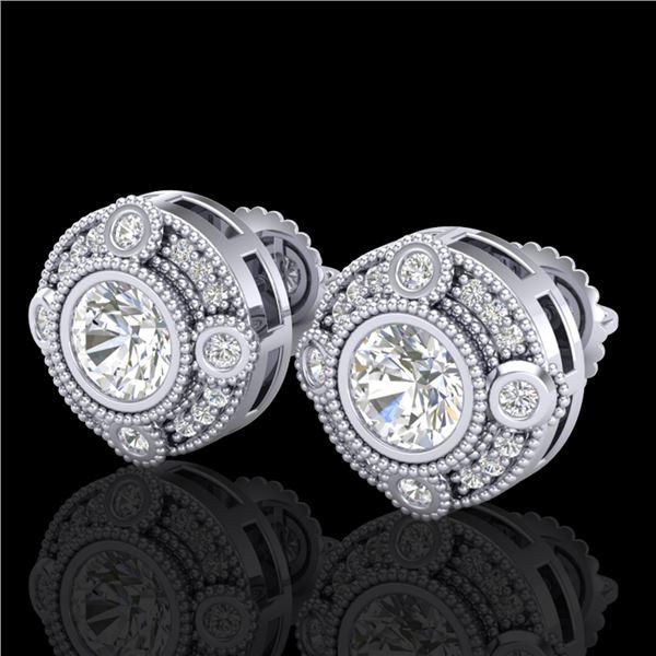 1.5 ctw VS/SI Diamond Solitaire Art Deco Stud Earrings 18k White Gold - REF-263G6W