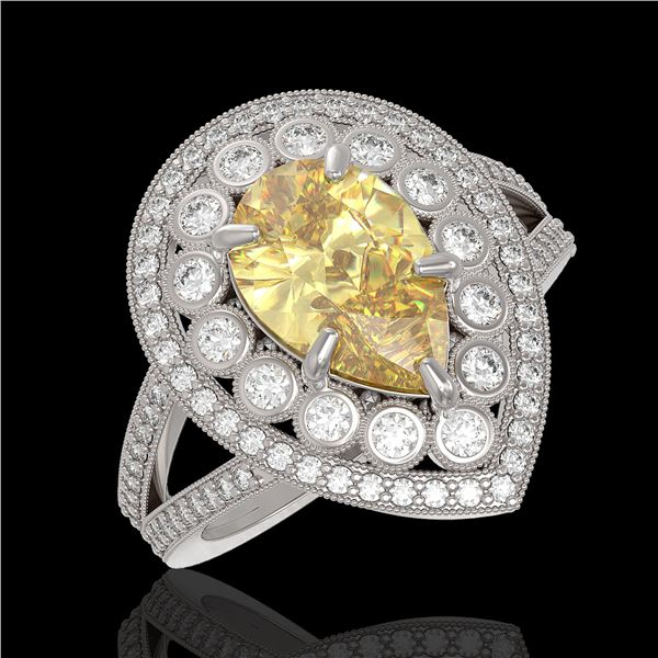 4.12 ctw Canary Citrine & Diamond Victorian Ring 14K White Gold - REF-125K5Y