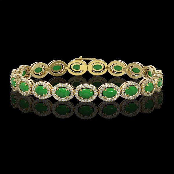 15.20 ctw Jade & Diamond Micro Pave Halo Bracelet 10k Yellow Gold - REF-278M2G