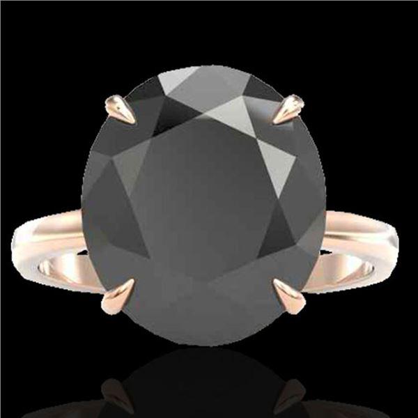 9 ctw Black Diamond Designer Engagment Ring 14k Rose Gold - REF-272N8F