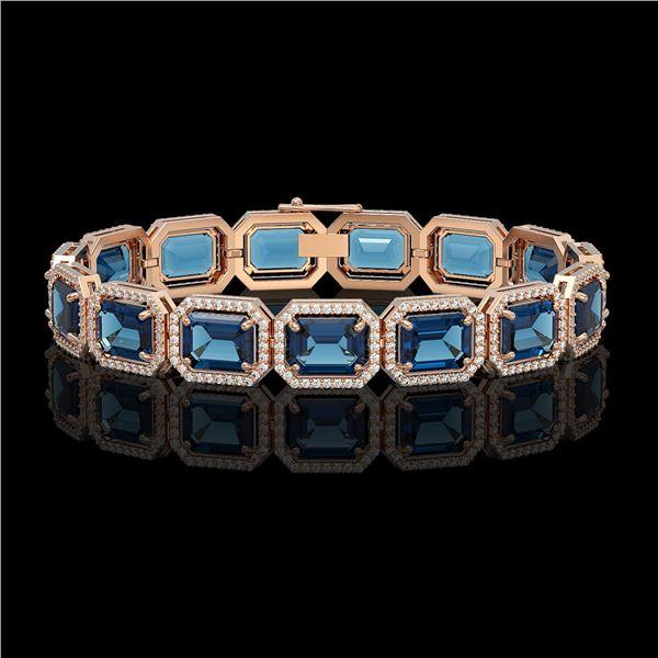 35.61 ctw London Topaz & Diamond Micro Pave Halo Bracelet 10k Rose Gold - REF-337W3H
