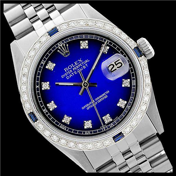 Rolex Men's Stainless Steel, QuickSet, Diam Dial & Diam/Sapphire Bezel