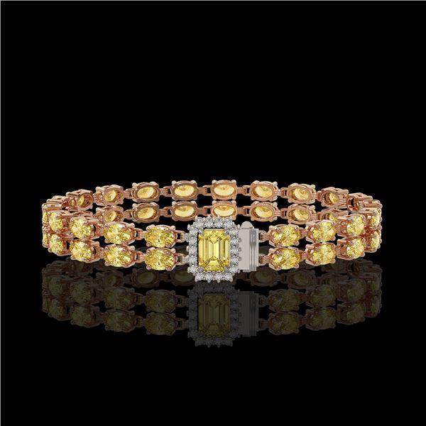 13.88 ctw Citrine & Diamond Bracelet 14K Rose Gold - REF-236M4G