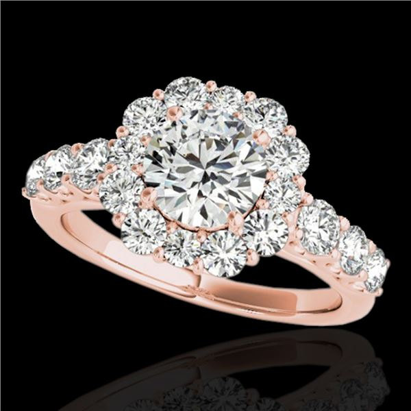 2.25 ctw Certified Diamond Solitaire Halo Ring 10k Rose Gold - REF-245X5A