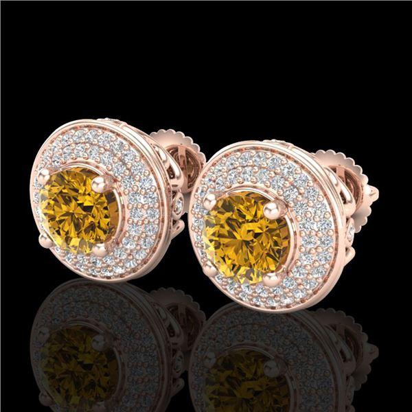 2.35 ctw Intense Fancy Yellow Diamond Art Deco Earrings 18k Rose Gold - REF-327R3K