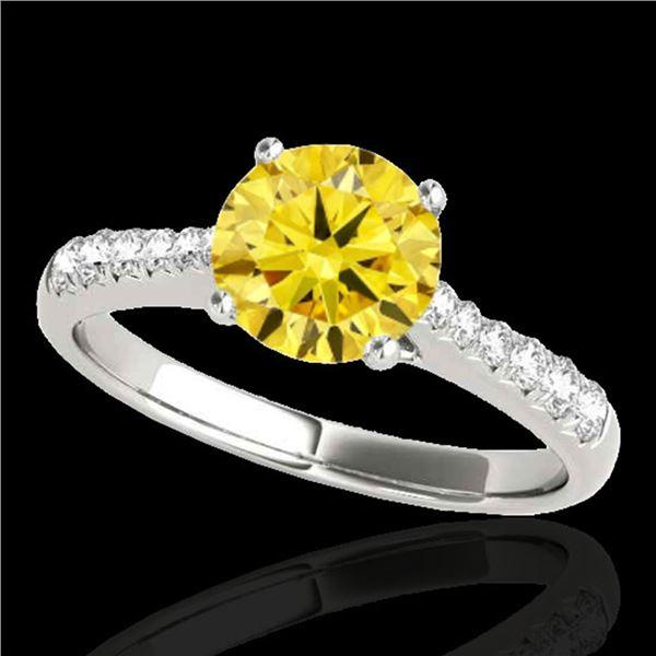 1.25 ctw Certified SI/I Fancy Intense Yellow Diamond Ring 10k White Gold - REF-190M9G