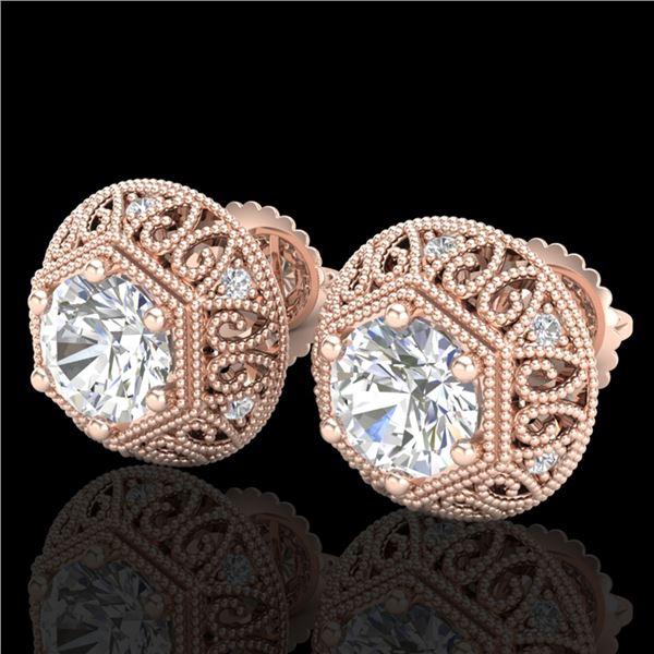 1.31 ctw VS/SI Diamond Solitaire Art Deco Stud Earrings 18k Rose Gold - REF-236A4N