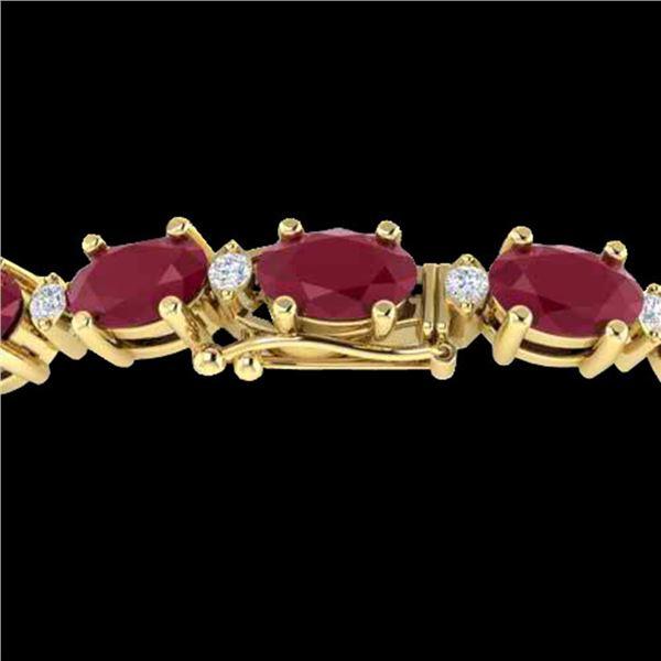 30.8 ctw Ruby & VS/SI Certified Diamond Eternity Bracelet 10k Yellow Gold - REF-245N5F