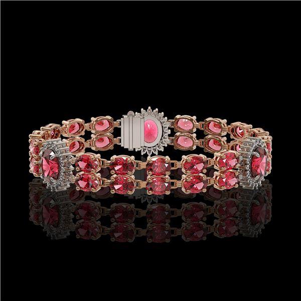 17.79 ctw Tourmaline & Diamond Bracelet 14K Rose Gold - REF-290G5W