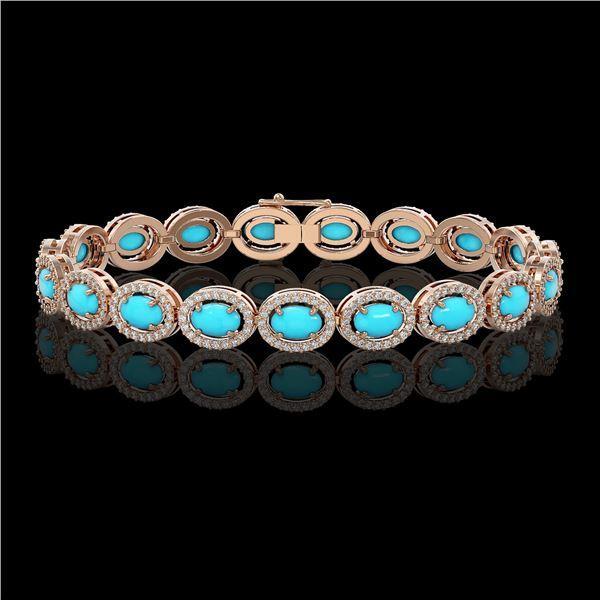 11.40 ctw Turquoise & Diamond Micro Pave Halo Bracelet 10k Rose Gold - REF-227G8W