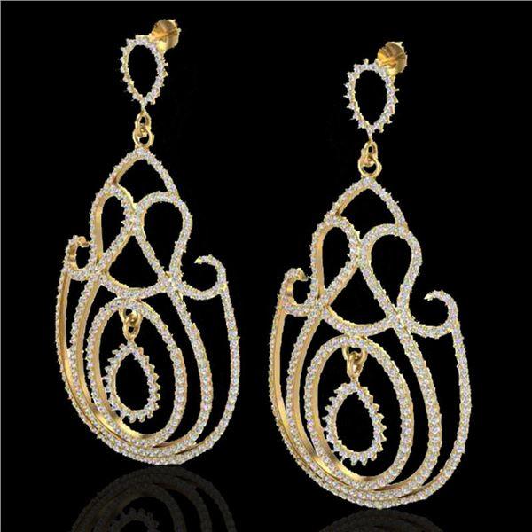 3.50 ctw Micro Pave Designer VS/SI Diamond Earrings 14k Yellow Gold - REF-345M5G