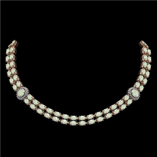 30.05 ctw Opal & Diamond Necklace 14K Rose Gold - REF-527N3F