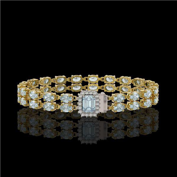 17.24 ctw Sky Topaz & Diamond Bracelet 14K Yellow Gold - REF-236F4M