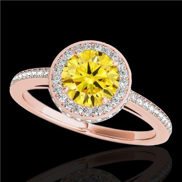 1.55 ctw Certified SI/I Fancy Intense Yellow Diamond Ring 10k Rose Gold - REF-197F8M