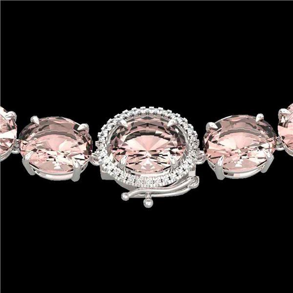 148 ctw Morganite & VS/SI Diamond Halo Micro Necklace 14k White Gold - REF-2254A5N