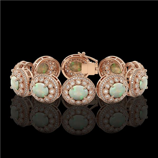 40.37 ctw Certified Opal & Diamond Victorian Bracelet 14K Rose Gold - REF-1402M4G