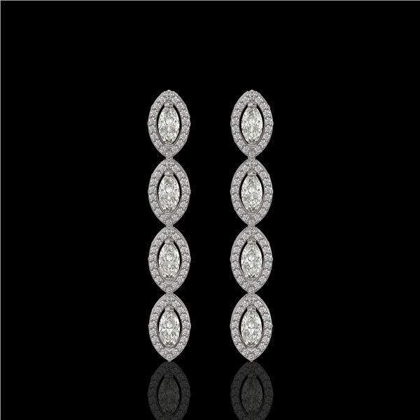 3.84 ctw Marquise Cut Diamond Micro Pave Earrings 18K White Gold - REF-334N6F
