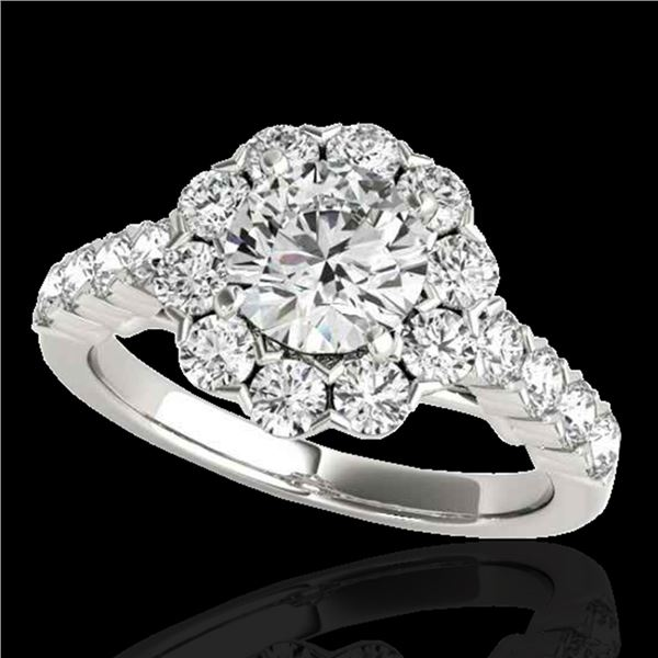 2.35 ctw Certified Diamond Solitaire Halo Ring 10k White Gold - REF-252K3Y