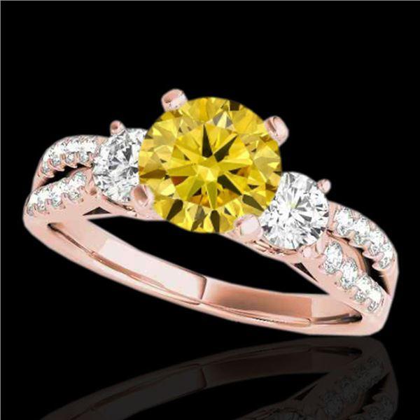 1.5 ctw Certified SI Intense Yellow Diamond 3 Stone Ring 10k Rose Gold - REF-204Y5X