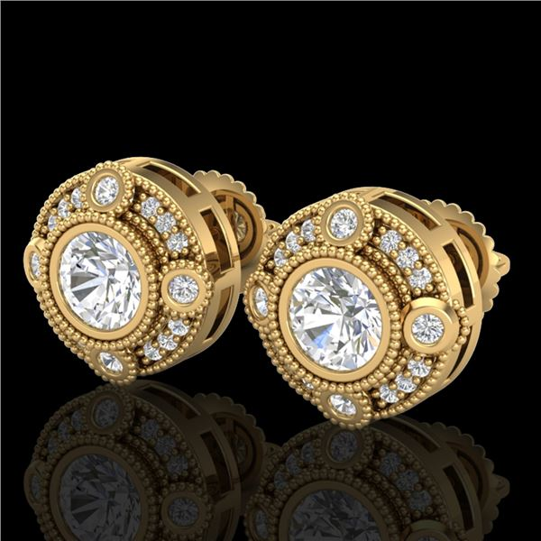1.5 ctw VS/SI Diamond Solitaire Art Deco Stud Earrings 18k Yellow Gold - REF-263K6Y