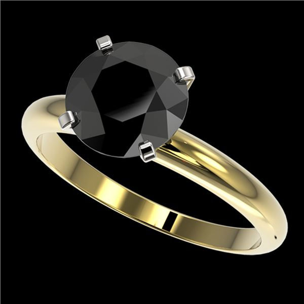 2.59 ctw Fancy Black Diamond Solitaire Engagment Ring 10k Yellow Gold - REF-57G8W