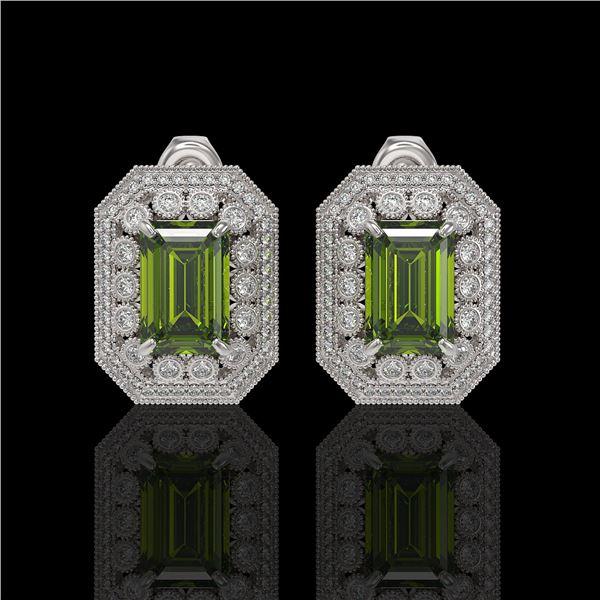 12.99 ctw Tourmaline & Diamond Victorian Earrings 14K White Gold - REF-346W2H